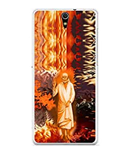 PrintVisa Designer Back Case Cover for Sony Xperia C5 Ultra Dual :: Sony Xperia C5 E5533 E5563 (Sai Baba In A Flashy Background)