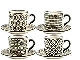 H&H Vhera Set 4 Tazze Tè con Piatto, Stoneware, Bianco/Nero, 220 ml