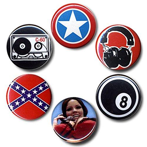Rock'n'Roll Nerd - Rock And Roll Cultura Set di badge - Set di 6 distinstivi - design originale concesso su licenza - LOGOSHIRT