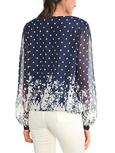 WAJAT Damen Langarmshirt O-Neck Chiffon Bluse Tops Tunika Gummiband Blau Blumen 2
