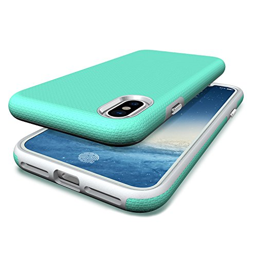 Apple iPhone X Schutzhülle,ultradünn TropfsSchutz Erschütterungs-Resistent Hybrid Doppelschicht Erschütterungsschutzhülle das für iPhone X Abdeckungshülle (Lila) Jade-mint