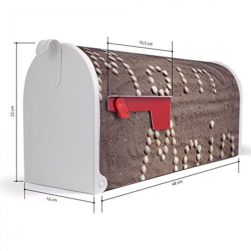 BANJADO US Mailbox | Amerikanischer Briefkasten 51x22x17cm | Letterbox Stahl weiß | mit Motiv Moin Moin, Briefkasten:ohne Standfuß - 2