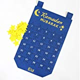 Juman634 DIY Kalender Wandbehang EID Mubarak Kareem Countdown Fühlte Sich Kalender Gold Star Sticker Muslim Balram Ramadan Party Dekoration Blau