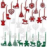 Naler 36 Adornos de Fieltro para Árbol de Navidad Decoración Colgante de Navidad para Pared Puerta(3 Colores)