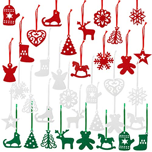 Naler - decorazioni natalizie in feltro, 36 pezzi