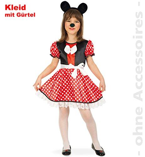 Kinder-Kostüm Mausi Gr. 104, 116, 128 Kleid rot-weiß Kinderfasching (128)