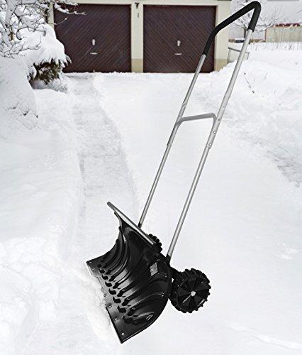 WOLTU #145 Schneeschieber Schneeschippe Schneeschieber mit Rädern Schnee Schaufel Schieber Länge:130cm (2745 Schwarz) - 5