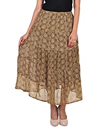 VS FASHION Women's Casual Printed Georgette Skirt