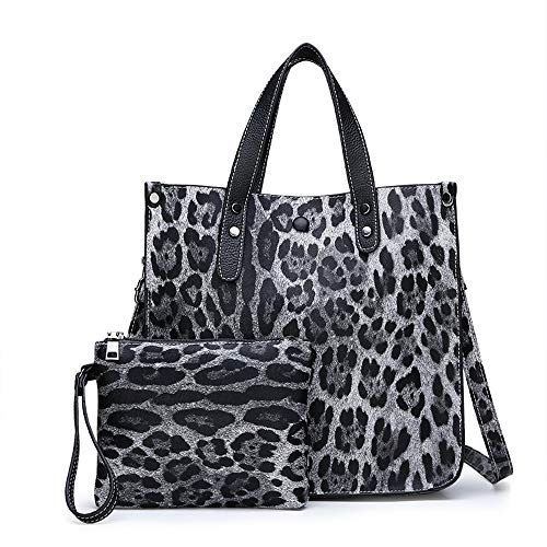 Leopard Nylon Tote (Pamabag Umhängetasche Damen,Casual Vintage Große Kapazität Leopard Handtasche Tote Bag Schulter Messenger Bag Fashion Wild 2-Teilig Multi-Funktion Bucket Bag Crossbody Bag, Schwarz)