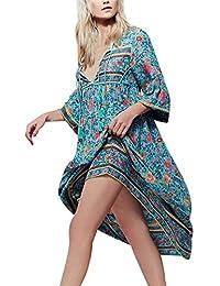 LHWY Vestidos De Verano Bohemios Mujer Largos, Vestidos Casuales De Playa con Mangas Cortas Vestidos
