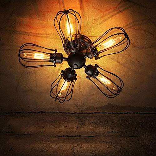 Hplights Wandleuchte Retro Industrielles Wandlampe Ventilator 5 Kopf Kreativen PersöNlichkeit Flur Hotel Restaurant KüChe Esszimmer E27 Schwarz