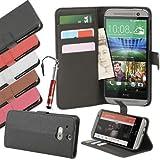 Madcase HTC ONE M8 (2014) Case Ledertasche mit Kartenfächer Premium Design Etui Tasche Portemonnaie PU Leder Hülle - Schwarz