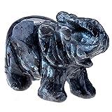 QGEM Dekoration Healing geschnitzte Elefanten Tier Figur Statue Ornament Edelstein Kristall Reiki...