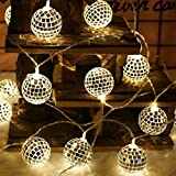 KING String Lichter marokkanischen Ball 10 / 20LED Globe Fairy String Kugel Laterne Patio (D)