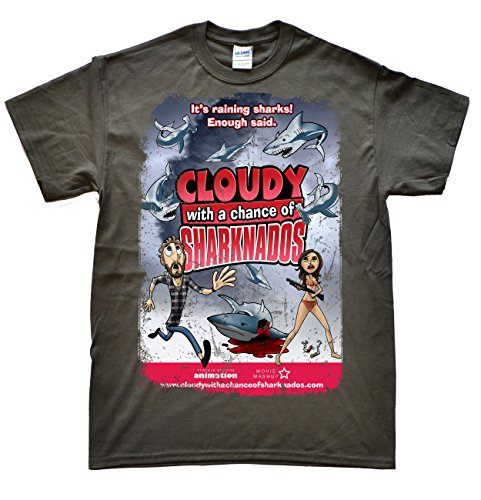 JeKAt Cloudy with a Chance of Sharknado Dunkelgrau T-Shirt, Größe 2XL
