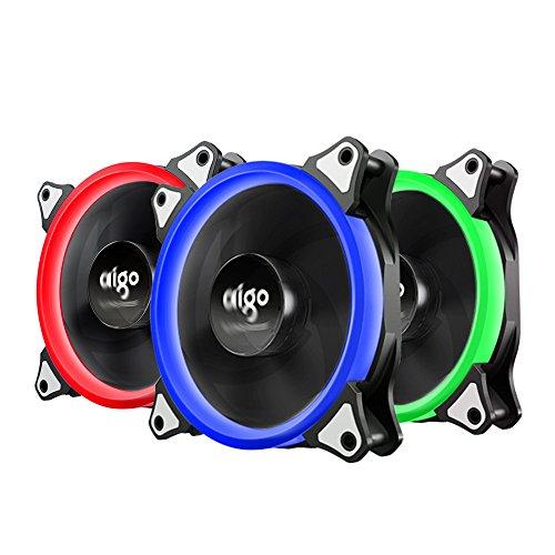 Led Case Fan (Gehäuselüfter, AIGO RGB LED 120mm Quiet Edition High Airflow Einstellbare Farbe LED Lüfter für Computer Gehäuse, CPU Kühler und Heizkörper)