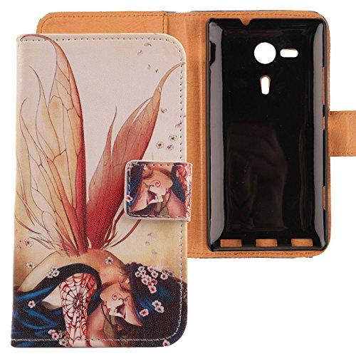 Lankashi PU Flip Leder Tasche Hülle Case Cover Schutz Handy Etui Skin Für Sony Xperia SP M35h Wing Girl Design