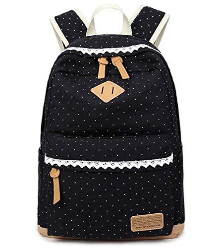 Mädchen Schulrucksack,Fashion Damen Canvas Rucksack Polka Punkt süße Spitze Kinderrucksack Outdoor Freizeit Daypacks Schultaschen für Teenager 16.5x13x5.5 Zoll (schwarz)