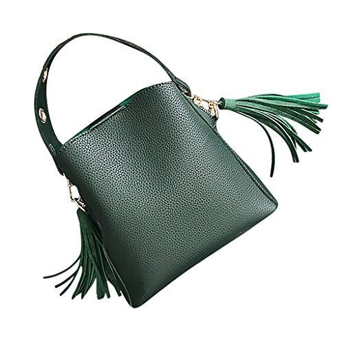 Linkay Neuer HeißEr Verkauf Mode Wild Damen Tasche Vintage Eimer-Tasche Handtasche UmhäNgetasche Quaste Retro Rucksack-Grün