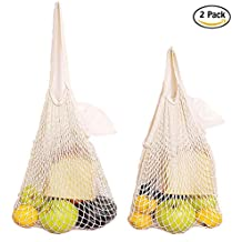 Cotone Riutilizzabile Grocery Bags, IHUIXINHE Cotton Net Shopping Tote, Eco-friendly Mercato Stringa Borsa Organizer, Premium Lavabile Sacchetti in Rete per Spesa e la Sistemazione di Frutta Vegetable