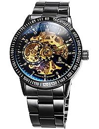 Alienwork IK Reloj Automático esqueleto mecánico relojes hombre sport Diseño intemporal Acero inoxidable negro 98226-12