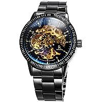Alienwork IK mechanische Herren-Uhr Automatik Edelstahl-Metallband Photochromes Glas Schwarz Gold 98226-12