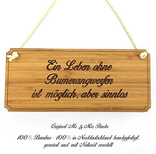 Mr. & Mrs. Panda Türschild Sportart Bumerangwerfen Classic Schild - 100% handgefertigt aus Bambus Holz - Anhänger, Geschenk, Vorname, Name, Initialien, Graviert, Gravur, Schlüsselbund, handmade, exklusiv