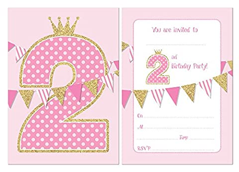 Second Birthday Party Invitations - Pink with Faux Glitter Effect - 24 x A6 postcard size cards (With Envelopes)