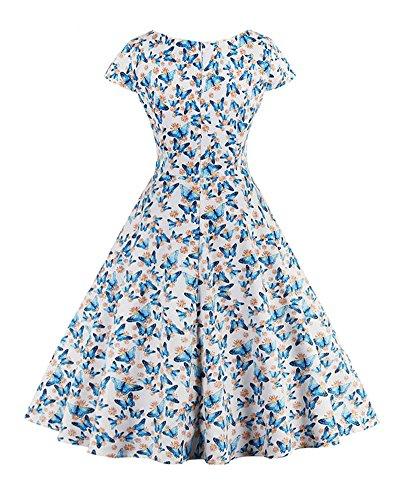 Damen Retro Hepburn Stil Kurze Ärmel Kleine VAusschnitt ALiene Mini Drucken  BigRock Dress Hellblau