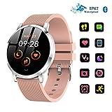 ZWHLSH Smart Watch Bluetooth Montre Cardiofréquencemètre Fitness Tracker GPS Course À Pied Montre Compteur De Calories Imperméable pour Téléphones Android Et iOS (Color : Pink)