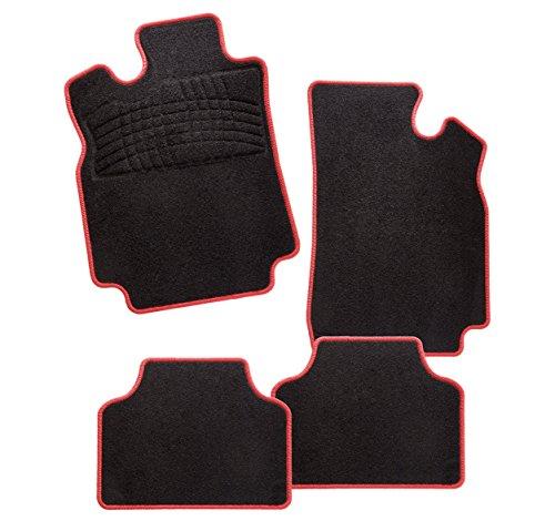 Konzepte Roten Teppich (CarFashion Calypso Rot B02, Auto Fussmatte in schwarz, vorne und hinten, ohne Mattenhalter)