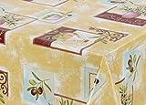 Wachstuch Tischdecke abwischbar rutschfest, glatt Mediterran gelb, Größe wählbar (190 x 140 cm)