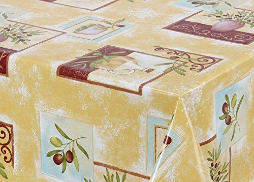 Wachstuch Tischdecke abwischbar rutschfest, glatt Mediterran gelb, Größe wählbar (230 x 140 cm)