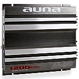 auna AB-250 Car Amplifier Car HiFi Verstärker 2-Kanal Auto-Endstufe 1200 Watt Max. Brückbar Stereo-Mono-Betrieb Frequenzbereich: 20 Hz-20 kHz 4 bis 16 Ohm Sicherung Grau-Silber