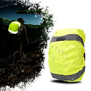 AYKRM High Vis Waterproof Backpack Rucksack Cover Bag Rain Cover with Reflective Strip for Cycling, Running, Hiking (Yellow, 20-45L)