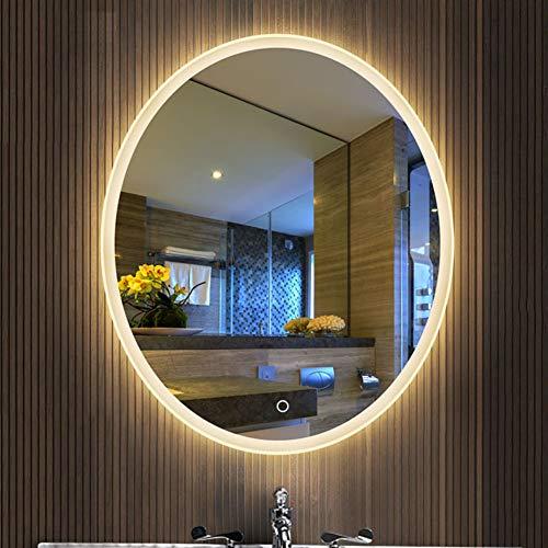 Touch Gerahmt (DELM Spiegel, LED beleuchtet Badezimmer-Spiegel Touch-Schalter Weißes Licht/warmes Licht Moderne ovale Eleganz 12V Sicherheitslichtleiste)