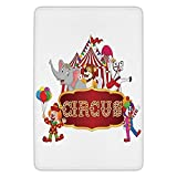 TRAzz Bathroom Bath rug Kitchen Floor Mat Carpet,Circus Decor,Cute Happy Fun Trained Circus Animals with Nostalgic Tent Carnival Party Show Art,Red White,Flannel Microfiber Non-Slip Soft Absorbent