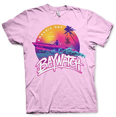 Offizielles Lizenzprodukt Baywatch - Emerald Bay Herren T-Shirt (Rosa), Medium