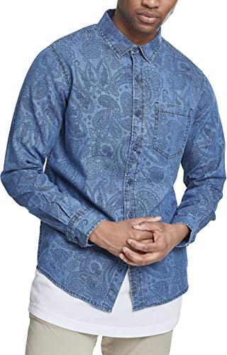 Urban Classics Herren Printed Paisley Denim Shirt Jeanshemd, Blau (Medium Blue Wash 01399), Kragenweite: XXXXX-Large cm (Herstellergröße: 5XL) -
