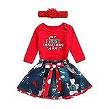 FIRSS-Mädchen Weihnachten Set My First Christmas Tops+Rentier Drucken Kurzekleid Vintage Pyjamas Outfits Casual Weihnachtskostüm