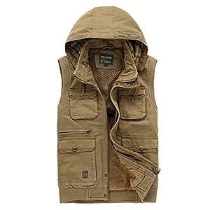 HAOYUXIANG Outdoor-Weste Mehrere Taschen mit Kapuze Baumwolle Herrenmode Verdickt Warme Freizeitjacke