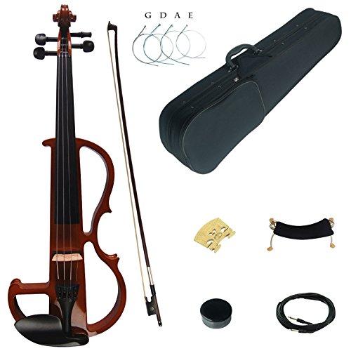 8 1 Bow Violin (Kinglos 4/4 Farbig Massivholz Fortgeschritten Elektrische Violine Geige Set mit Ebenholz Beschläge (DSG1804))