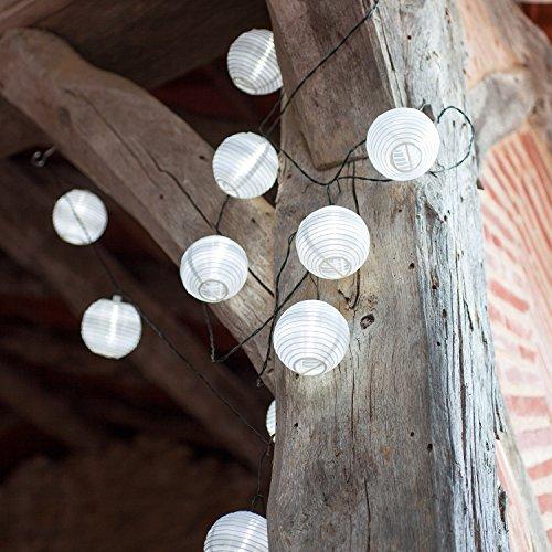 Offre Spéciale : Lot de 3 x Guirlandes Lumineuses LED Solaires avec 10 Lampions Chinois Blancs par Lights4fun