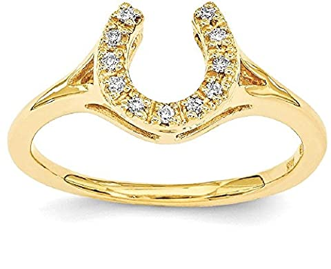 IceCarats 14k Yellow Gold Diamond Horseshoe Band Ring Size