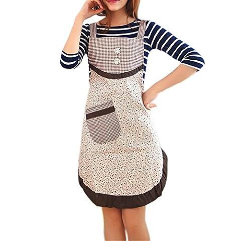 100% coton, CE Mode Imprimé Femme Tablier de cuisine, Cou réglable et attaches de tour de taille, poches avant, lavable en machine, idéal pour la cuisine, Pâtisserie, Traiteur travail Workwear uniforme.