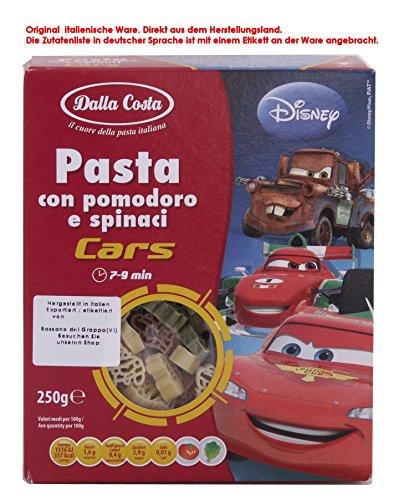 Dalla Costa Disney Pasta Cars 6 x 250g = 1500g Pasta di semola di grano Duro con Pomodoro e spinaci Teigwaren aus Hartweizen mit Tomaten und Spinat - Disney-lebensmittel-etiketten