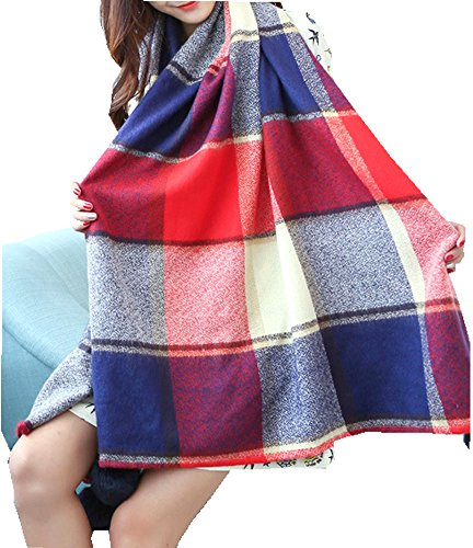 Kissing U Hiver Chaud Angleterre Tartan style longue écharpe avec un Lapin doux Boule de poils Plaid épais Wrap Châles pour Femmes Filles Rouge-bleu