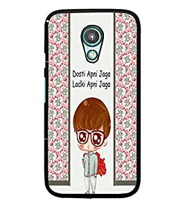 PrintDhaba Funny Quote D-5805 Back Case Cover for MOTOROLA MOTO G2 (Multi-Coloured)