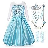KABETY Mädchen Prinzessin Anna Kleid Schnee königin ELSA Kostüm Party Kleid,3 Jahre (Hersteller Größe:100) ,Hell Blau mit Zub