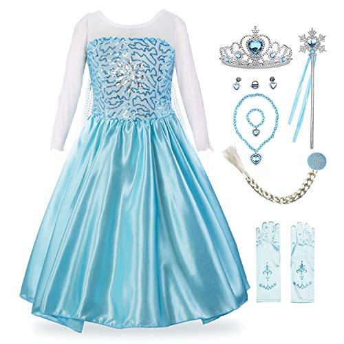 KABETY Mädchen Prinzessin Anna Kleid Schnee königin ELSA Kostüm Party Kleid,4 Jahre (Hersteller Größe:110) ,Hell Blau mit (Kostüm Mit Einem Blauen Kleid)